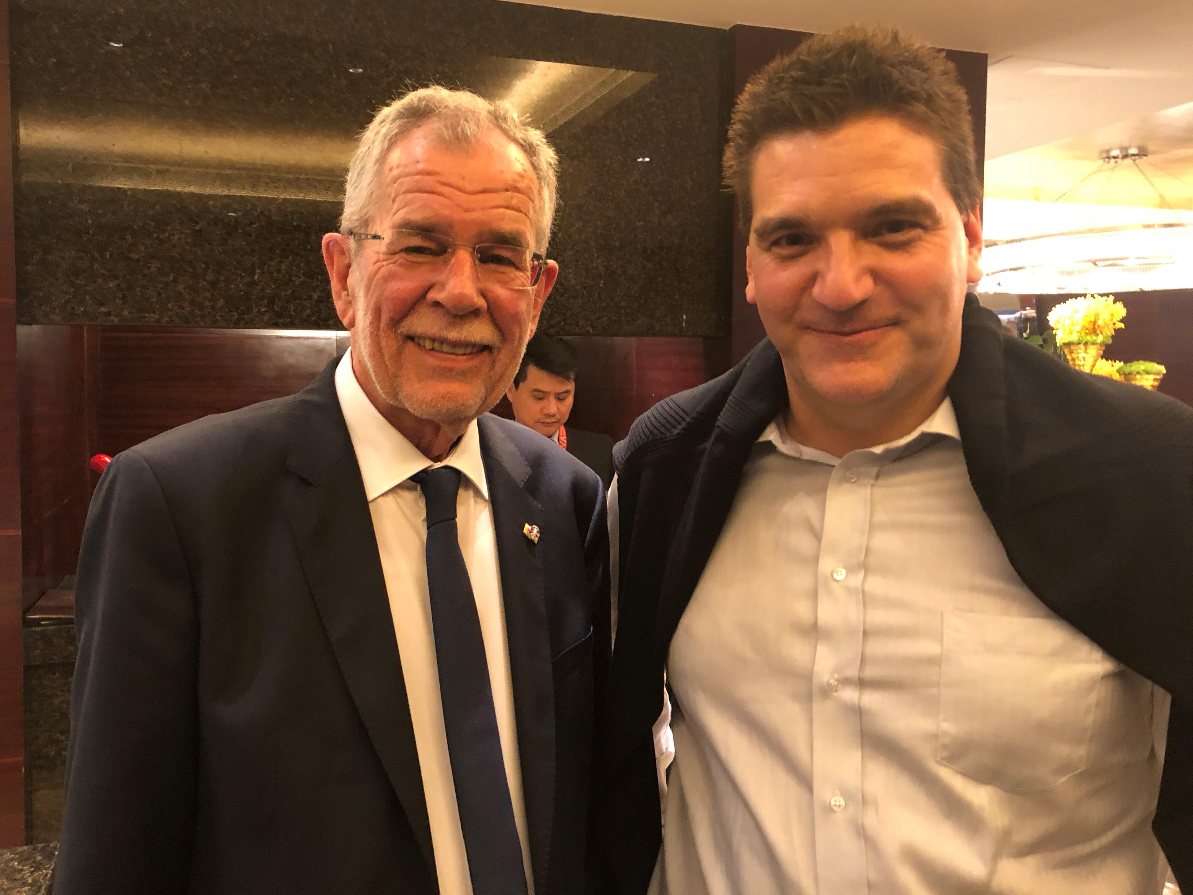 Michael Weilguny und Bundespräsident Alexander Van der Bellen. China 2018