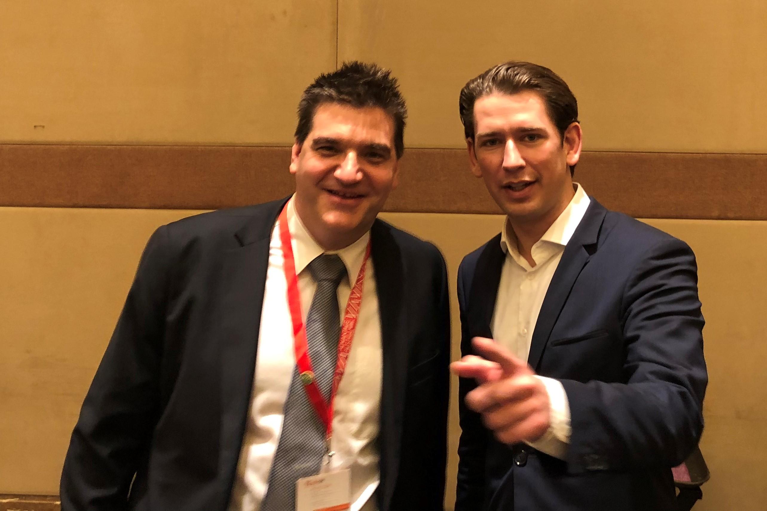 Michael Weilguny und Bundeskanzler Sebastian Kurz, China 2018