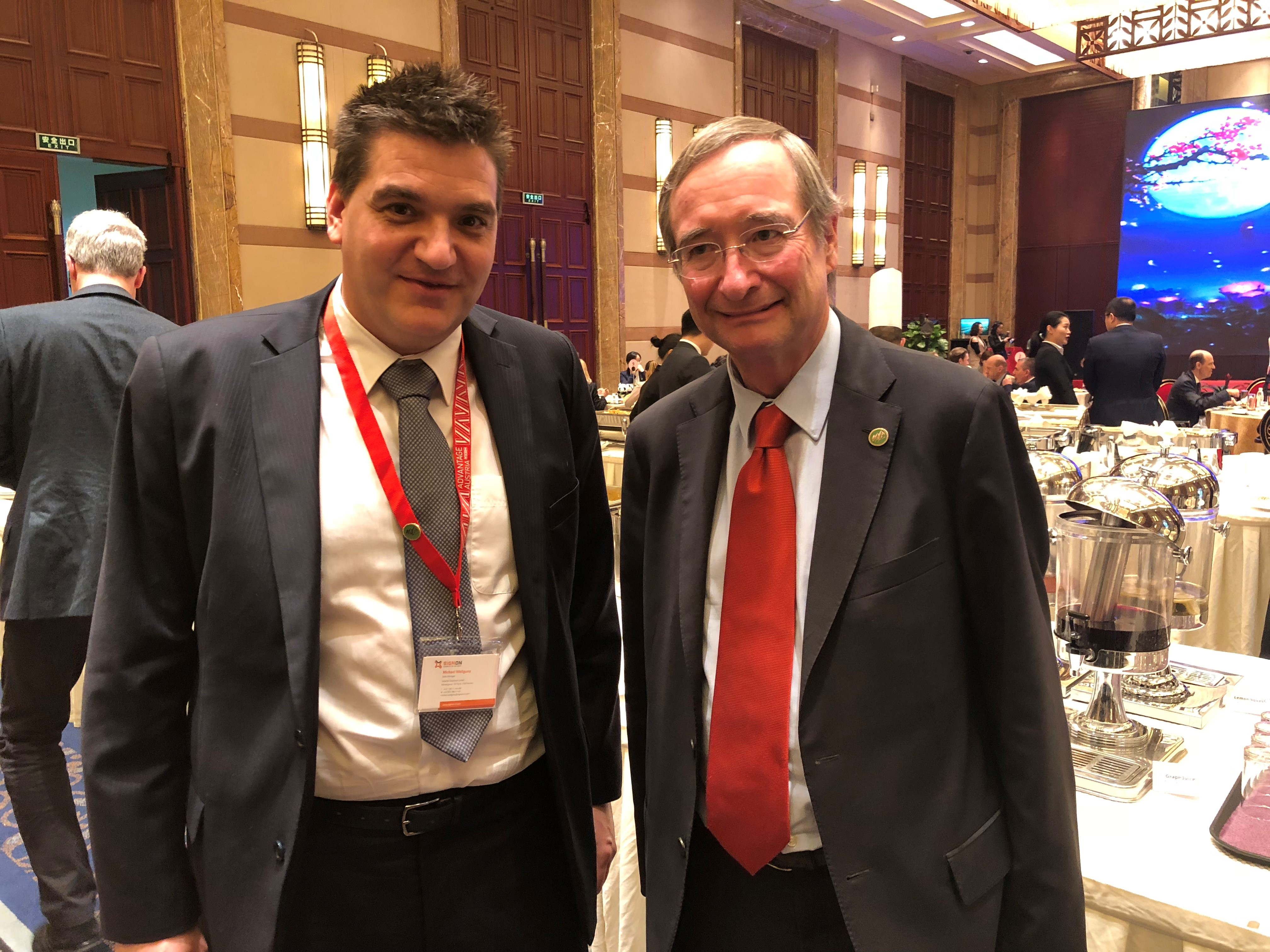 Michael Weilguny und Wirtschaftskammer President Christoph Leitl, China 2018