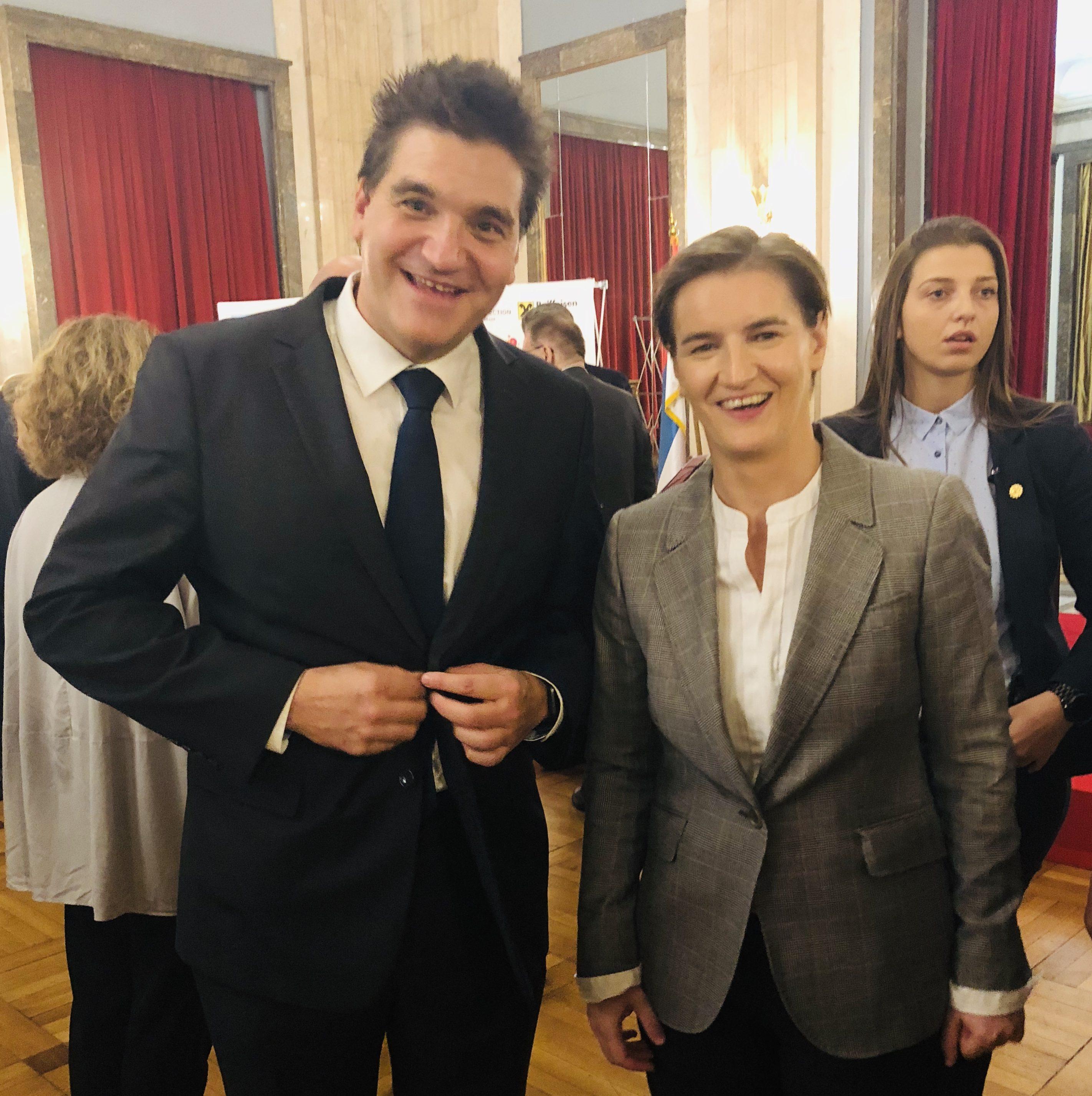 Michael Weilguny mit Ana Brnabić Ministerpräsidentin der Republik Serbien, Belgrad 2019